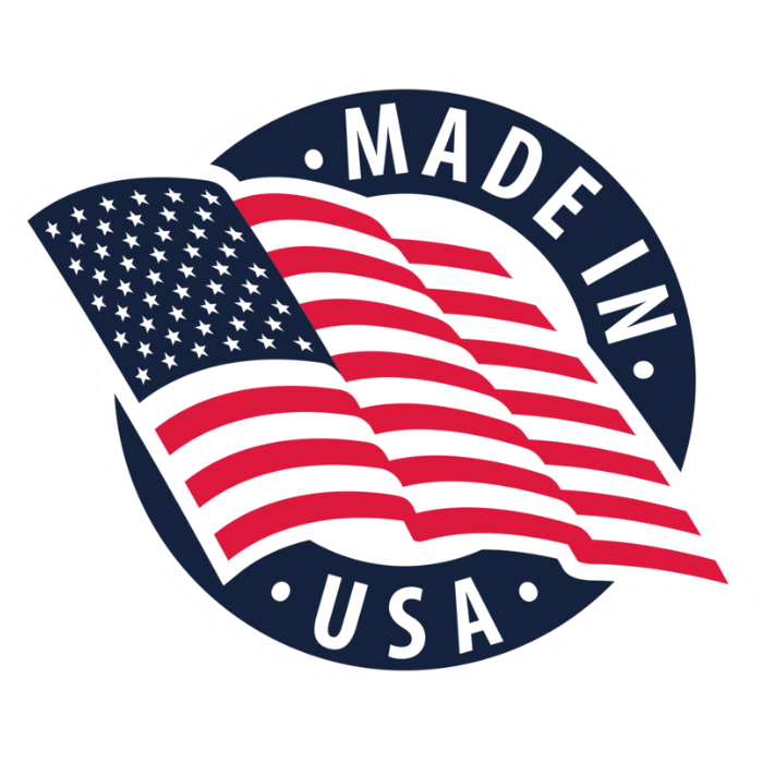 Made in USA emblem with American Flag